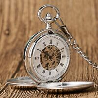 Mens Pocket Watch Mechanical Silver Case Hand-winding Classic Retro Chain Luxury