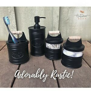 Autumn Alley Glass & Black Farmhouse Bathroom Accessories Set- 4 pieces