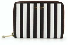 NEW Henri Bendel W 57th Zip Wallet Case Centennial Brown White Stripe Leather