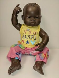 """Miniland Anatomically Correct Doll Baby Girl 15"""" Soft Vinyl Poseable + Outfit"""