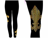 PLUS SIZE FULL-LENGTH LEGGINGS EMBELLISHED GOLD MARDI GRAS FLEUR DE LIS