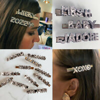 Personalised Custom Name Slogan Word Diamante Rhinestone Hair Clip Slide UK