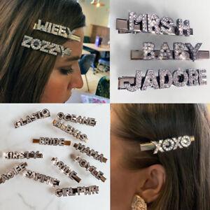 Personalised Custom Name Slogan Word Diamante Rhinestone Hair Clip Slide UK