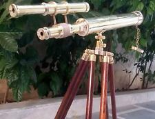 Nautical Brass Double Barrel Pirate Telescope With Tripod Stand Christmas Gifts