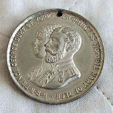 1893 ROYAL WEDDING OF PRINCE GEORGE AND PRINCESS VICTORIA 38mm WHITE METAL MEDAL