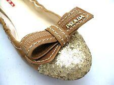 Prada 3F5652 Ballerina Ballet Bow Camel Gold Glitter Cap Toe Flats ה Size 36