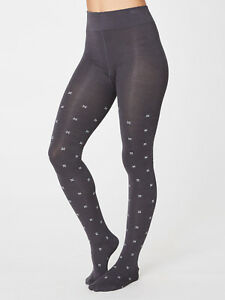Thought Althea Dark Navy Blue Flower Patterned Full Leg Tights Bamboo Cotton