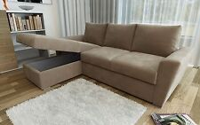 New Stanford L-Shape Corner Sofa Bed with Lift Up Storage in Taupe Chenille