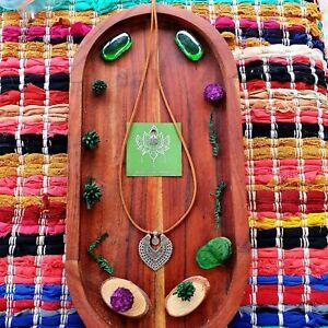 'Gypsy Lotus Meditation' Necklace Silver Leather Suede GypsyLee Jewels Boho Yoga