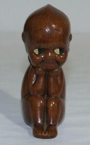 Vintage Rose O'Neill Black Kewpie Bisque Sitting Doll- NR!