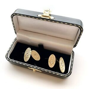 Edwardian Swirling Foliage Masonic Cufflinks - Wedding Cufflinks