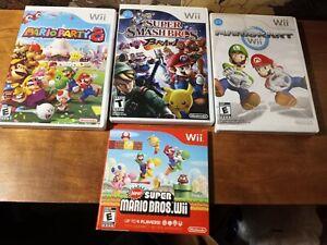 Wii Super Mario Game Lot - Mario Party 8, Super Mario bros, Mario kart, 4 games