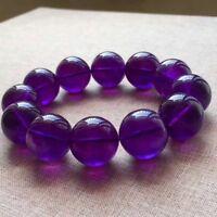 Natural Purple Amethyst Quartz Round Big Beads Healing Bracelet 20mm AAAA