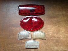 Vintage 5 Lot Red Clear Glass Lens Old Tail Stop Brake Marker Light Lamp AnTiQuE