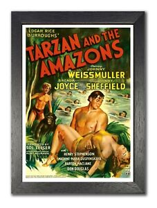 Tarzan And The Amazons Weissmuller, Joyce Vintage Action Adventure Movie Poster