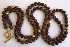 YOSSI HARARI PURE 24K GOLD NATURAL EDO MEIJI CARVED OJIME NUT BEAD NECKLACE 60""