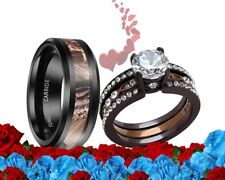His Tungsten Camo and Her Cz black Brown Stainless Steel Wedding Engage Ring Set