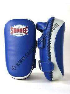 Sandee Blue & White Curved Thai Leather Kick Pads Boxing Training MMA Muay Thai