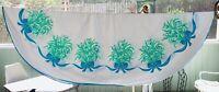 "Print Cotton Tablecloth Vintage Oval 76"" x 54"" Blue Green Floral Ribbons Estonia"