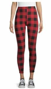 No Boundaries Junior's Red Buffalo Plaid Print Leggings. Size XXL 2 XG (19)