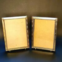 2 Vintage Embossed Gold Brass Metal Picture Frame 5x7 Ball Footed Ornate MCM