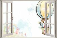 Huge 3D Window view Childrens Fairytale Balloon Ride Wall Sticker Decal 1055
