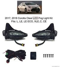 CLEAR LED FOG LIGHT KIT FOR 2017 2018 TOYOTA COROLLA LAMPS BEZELS HARNESS SWITCH