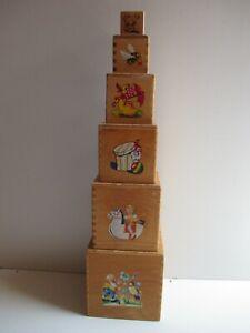 Antik Spielzeug - Holz Stapelturm -, 6 Klötze