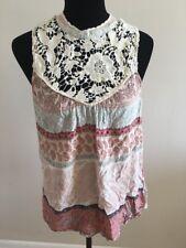 O'Neill Women's Top Size L Multi-Color Crochet Sleeveless Paisley Bohemian