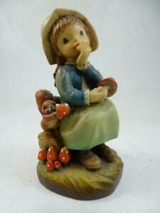 "Vintage Hand Carved Wood Anri Figurine Girl Mushroom Squirrel 260/3000 LE 4.5""T"
