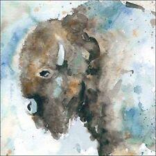 Carol Robinson: Buffalo on Blue Fertig-Bild 30x30 Büffel Tiere Aquarell blau