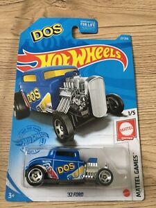 Hot wheels long card Mainline  ´32 Ford uno dos bleu blue