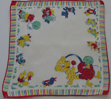 Vintage Child's White Batiste Hankie Animal Parage Teddy Scottie Dog Ducks 1950s