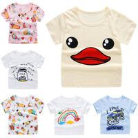 Kids Boys Girls Cotton T-shirt Short Sleeve Cartoon Casual Blouse Tops Summer