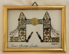 L. KERSH signed clock parts ART collage TOWER BRIDGE OF LONDON 1971 Framed