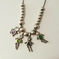 "30"" Sterling Silver Charm Necklace & 4 Birthstone Charms W/ Bead Spacers"