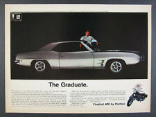 1969 Pontiac Firebird 400 silver hardtop color photo vintage print Ad