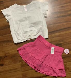 New Justice Girl's Summer Outfit Top Eyelet Lace & Glitter Skort Size 8 NWT