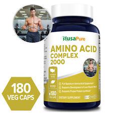 NusaPure Amino Acid 2000mg Complex -180 Caps (Non-GMO & Gluten-free)