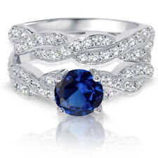 Brilliant Round Infinity Blue Sapphire Engagement Wedding Silver Ring Set 3.08