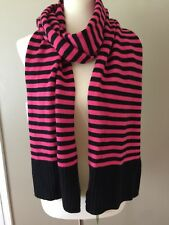 NEW Kate Spade New York Striped Wool Muffler Scarf Pink Black