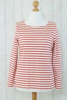Joules Women's Size 14 Harbour Pink Stripe Jersey Top Nautical Breton Boat Neck