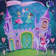 Mila Marquis Postkarte*Schloss*14x14 Glitzer*Geburtstagskarte*Prinzessin*Einhorn