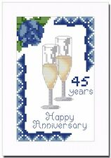 SAPPHIRE (45) WEDDING ANNIVERSARY CROSS STITCH CARD KIT