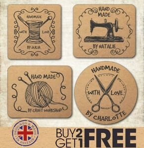 24x 40mm Handmade Craft Handcrafted Kraft Made By Wedding Favour/Sewing Stickers