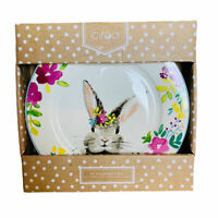 Ciroa Easter Bunny and Spring Flowers Floral Porcelain Dinner Plates Set of 4