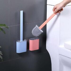 Silicone Toilet Brush Bathroom Cleaning Brush Holder Set Toilet Accessories US