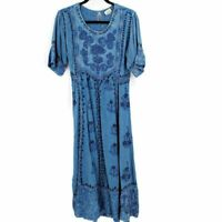 Magic VINTAGE Embroidered Flare Dress Chambray Denim Women's Free Size L / XL