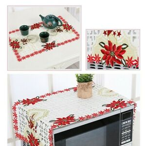 1pc Xmas Doily Vintage Embroidered Floral Tablecloth Party Home Xmas Desk Decor