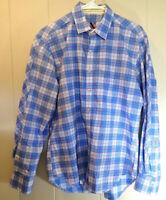 Robert Graham X Mens Tailored Fit Button Up Blue Plaid Shirt Flip Cuff Size M